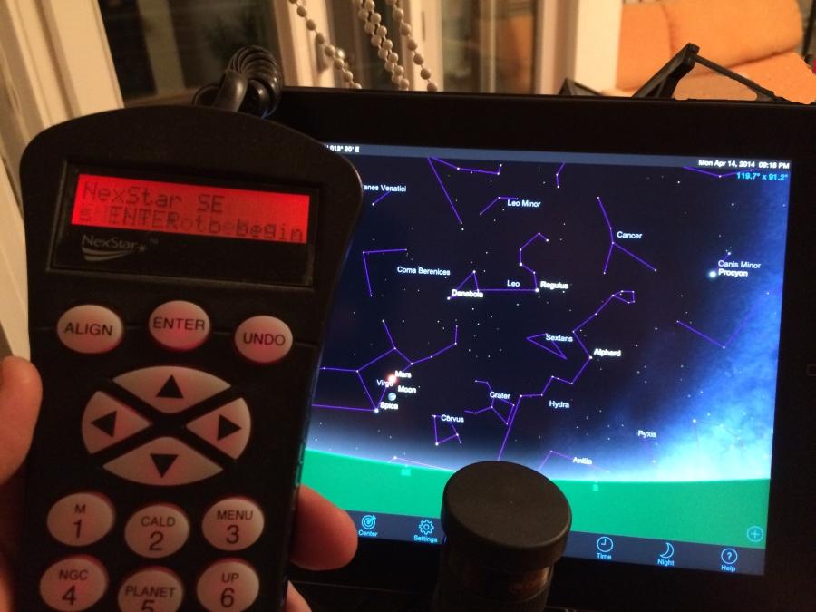iPad und Handcontroller Teleskop