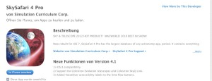 SkySafari 4.1 im iTunes Store