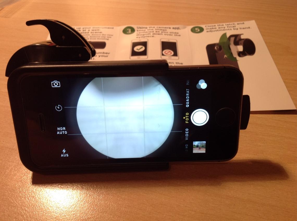 Kamerablick durch Magnifi Adapter