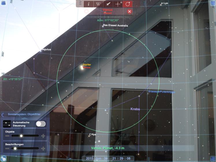 Redshift Planetenpositionen & Kameradurchsicht