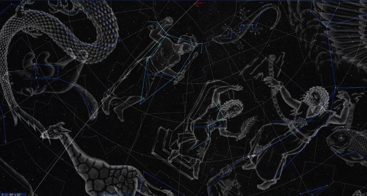 Sternbilder Cepheus und Cassiopeia Illustration