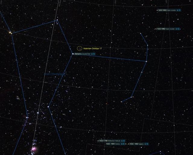Orion Schild Beobachtungsobjekte