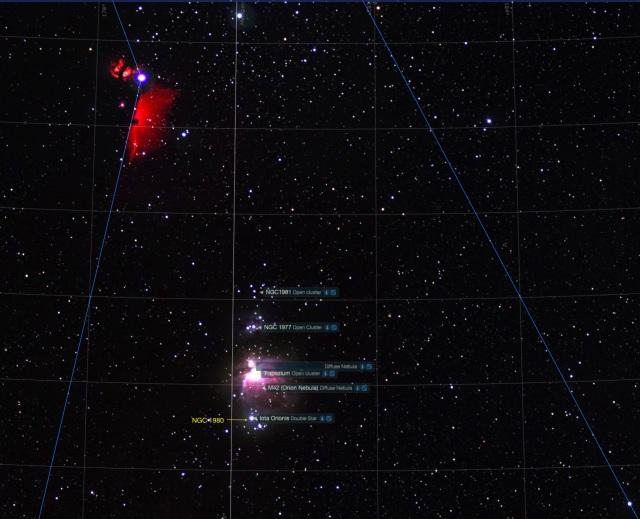 Orion Schwert Beobachtungsobjekte