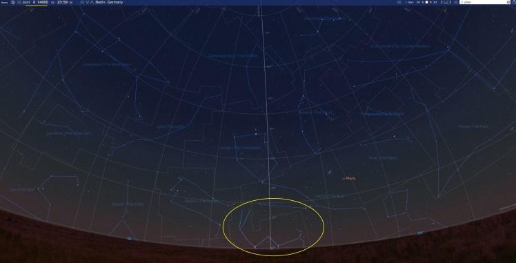 Sternbild Orion im Jahr 14.000