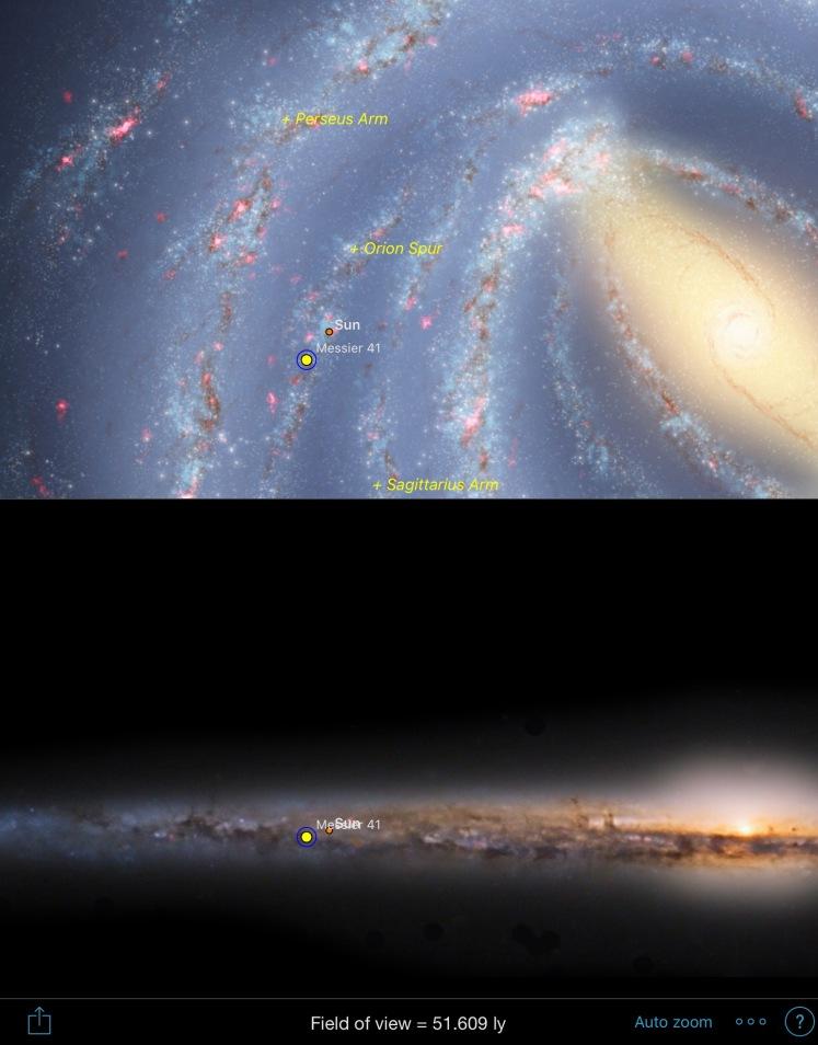 M41 - Position in Milchstraße