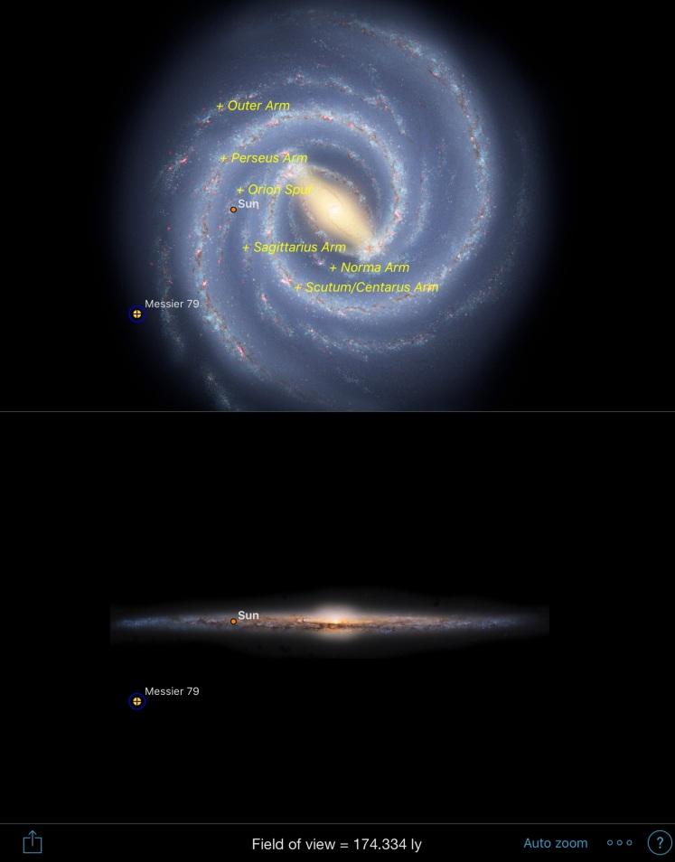 M79 - Position in Milchstraße (Sky Safari 5 Plus)