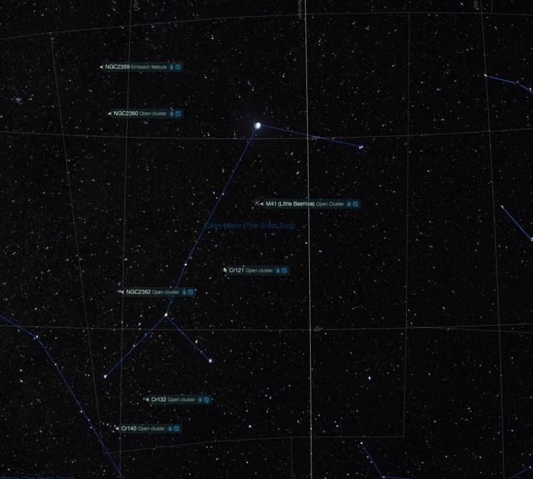 Sternbild Großer Hund - Beobachtungsobjekte
