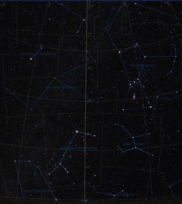 Sternbilder Großer Hund und Hase bei Orion