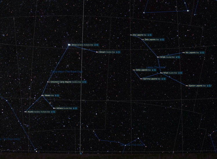 Sternbilder Großer Hund und Hase mit Sternbezeichnungen