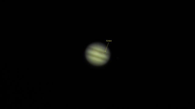 Jupiter 08.03.2016, 0:50 Uhr mit Europa vor dem Planeten
