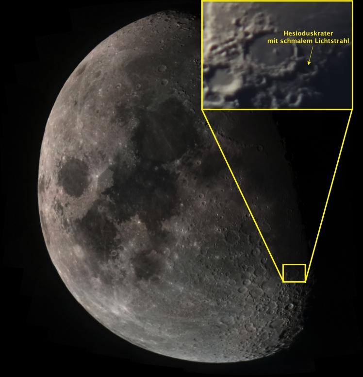 Markierte Position des Kraters Hesiodus an Abend des 17.03.16 (rechts ist Westen)