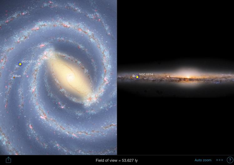 NGC6834 Position in der Milchstraße