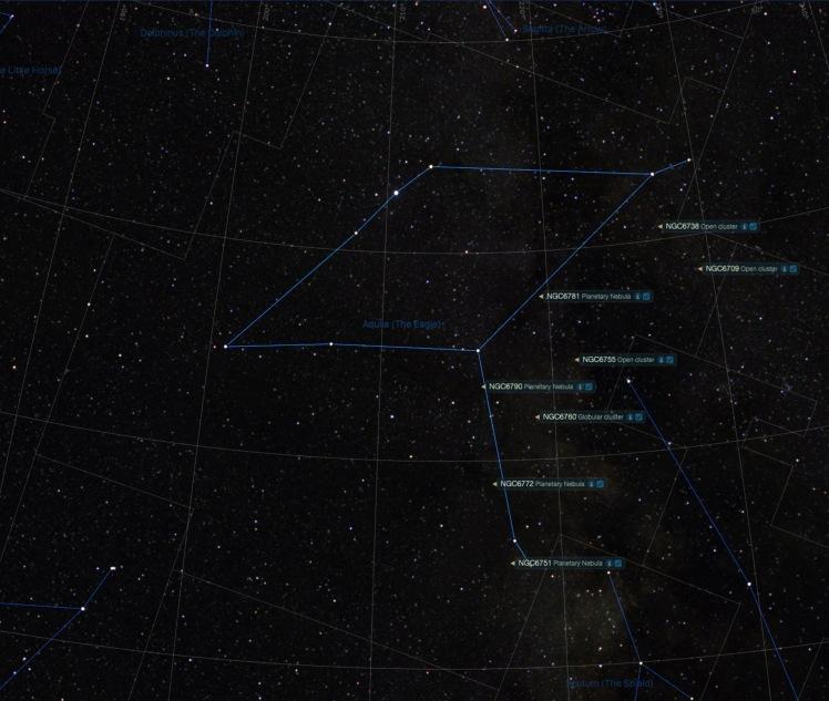 Sternbild Adler Beobachtungsobjekte