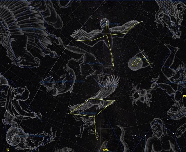 Sternbilder Adler - Schwan - Leier Illustrationen
