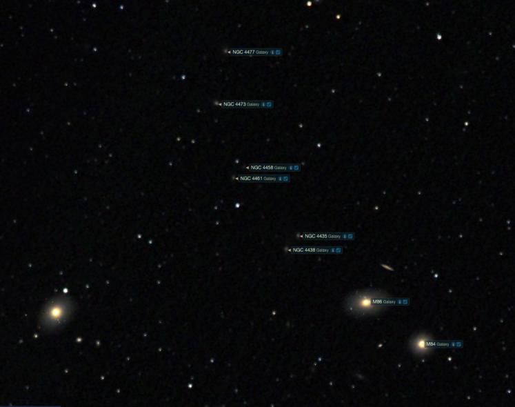 Markarian's Chain - Abbildung aus Starry Night 7 Pro Plus
