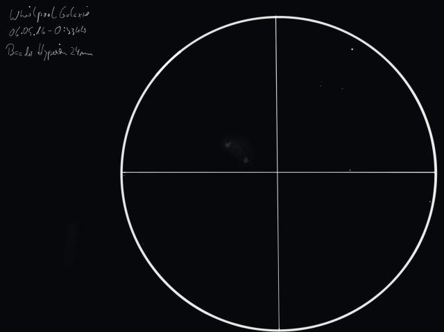 Zeichnung M51 Whirlpool Galaxis 06.05.16 (Norden ist oben, Osten ist links)