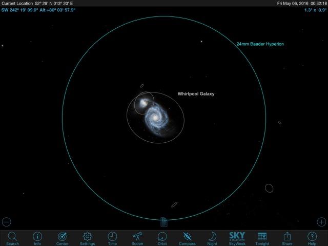 M51 mit teleskopischer Grenzgröße von 11,9 mag im Okular