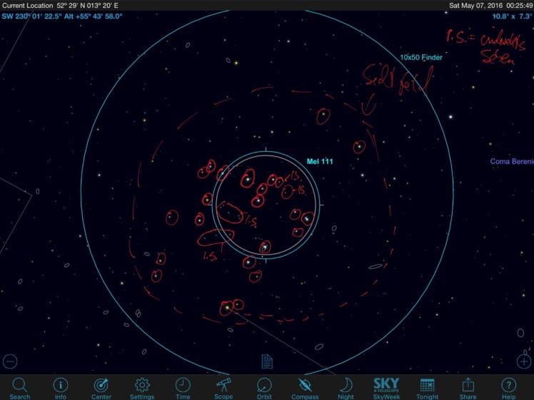 Mel 111 Sky Safari Pro - tatsächliches Sichtfeld im Okular