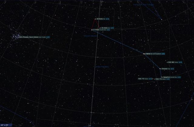 Sternbild Widder Beobachtungsobjekte