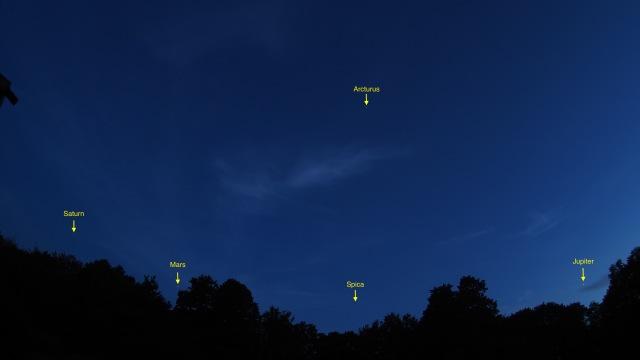 Saturn, Mars und Jupiter knapp über dem Horizont (Olympus M10, 9mm, 1:8.0 Body Cap Fish Eye)