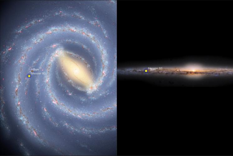 M93 - Position in Milchstraße