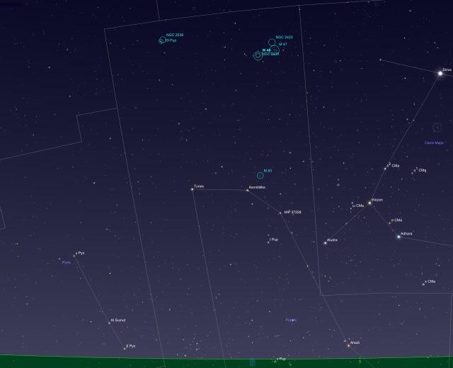 Sternbild Achterdeck - Beobachtungsobjekte