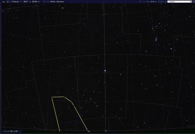 Sternbild Achterdeck über Horizont im Februar in Berlin