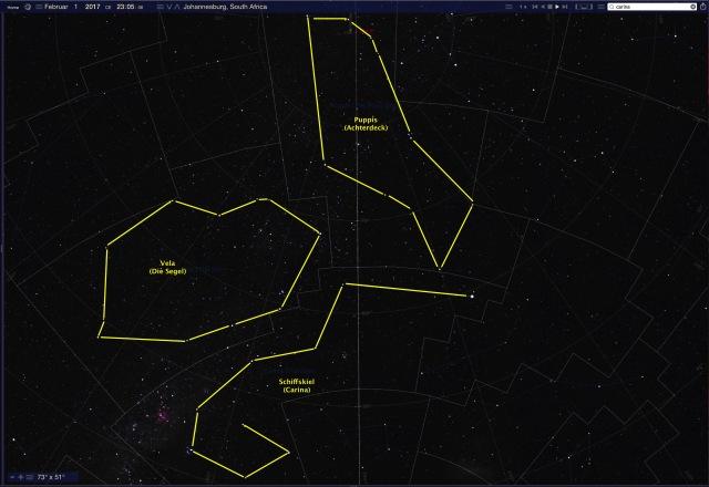Sternbild Argo im Februar - Standort Johannisburg