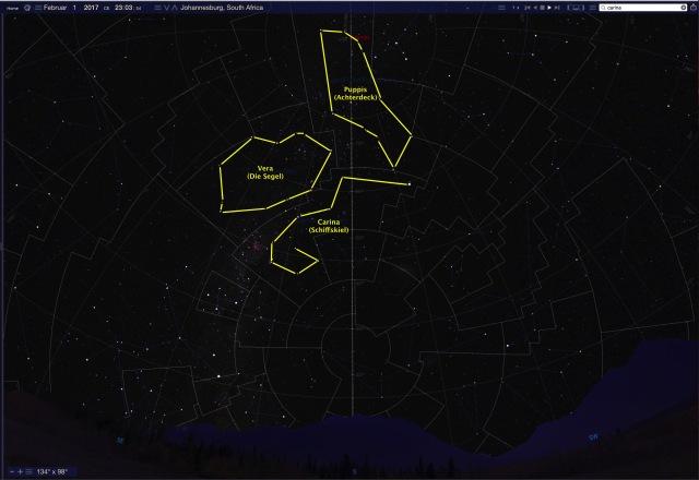 Sternbild Argo mit Horizont im Februar - Standort Johannisburg