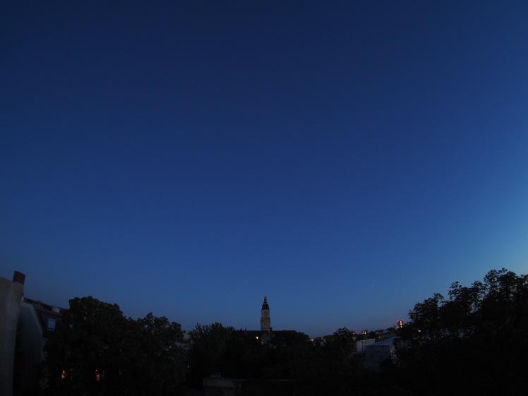 Die dreier-Konstellation Saturn, Mars und Antares am 26.08.16