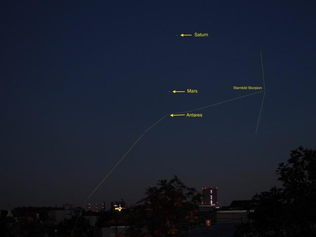 Saturn, Mars und Antares auf einer Linie am 24.06.16