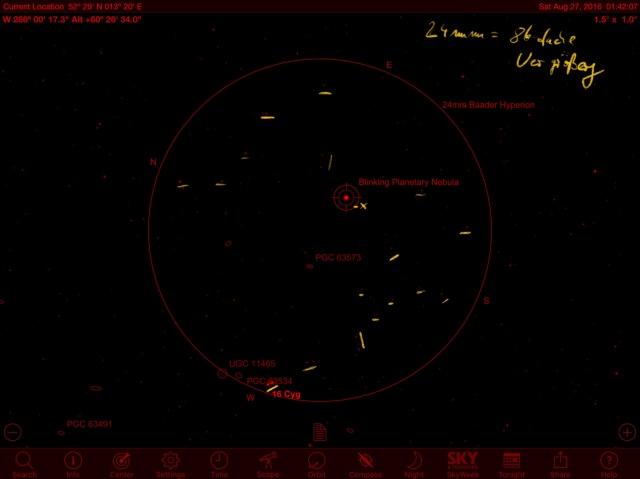 Blinking Planetary Identifikation mit Sternkarte aus SkySafari