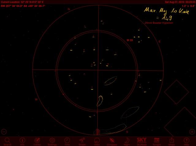 M39 Identifikation mit Sternkarte aus SkySafari