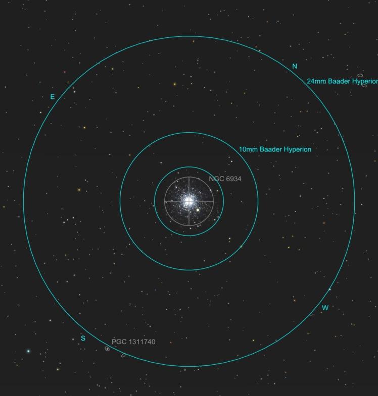 NGC 6934 - Ansicht im Okular bei verschiedenen Vergrößerungen