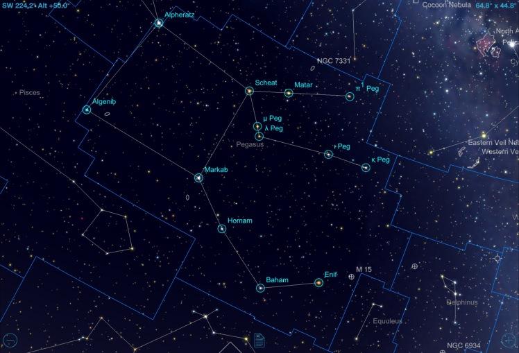 Sternbild Pegasus: Bezeichnung der Sterne zur Konstellation