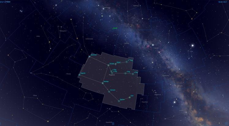 Sternbild Pegasus zusammen mit Andromeda