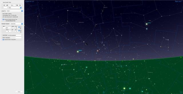 Mondsichel beim Saturn am 20.02.17