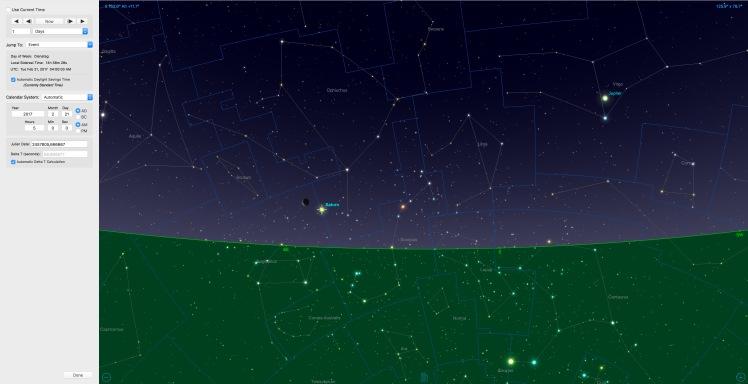 Mondsichel beim Saturn am 21.02.17