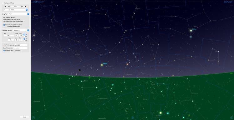 Mondsichel beim Saturn am 22.02.17