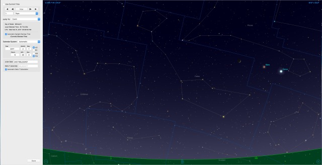 Mondsichel bei Venus und Mars am 01.02.17 um 18:30 Uhr
