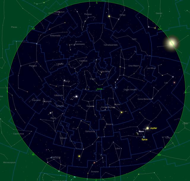 Mond bei Jupiter und Spica am 29.07.17 um 21 Uhr