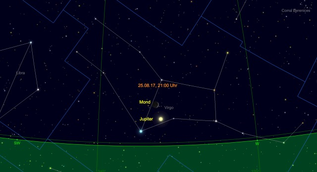 Schmale Mondsichel bei Jupiter am 25.08.17 um 21 Uhr