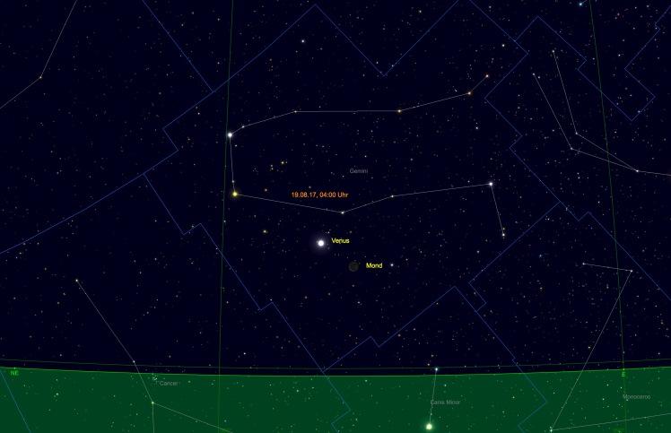 Schmale Mondsichel bei Venus am 19.08.17 um 04 Uhr morgens