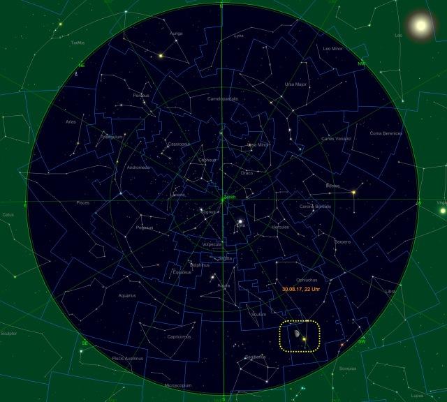 Mond bei Saturn am 30.08.17 um 22 Uhr kurz über dem Horizont