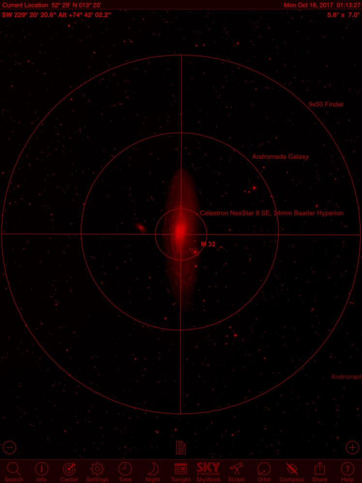 Andromedagalaxie im Sichtfeld eines 9x50 Finderscope und 24 mm Baader Hyperion Okulars (ca. 85-fache Vergößerung)
