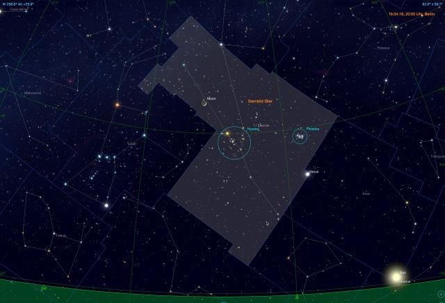 Mond und Venus im Sternbild Stier
