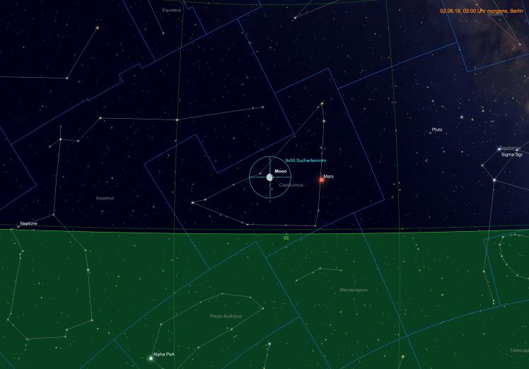 Mond beim Mars am 03.06.18