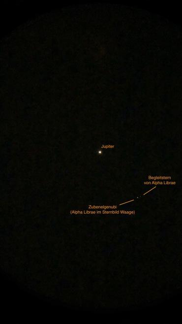 Jupiter im Fernglas bei Alpha Librae