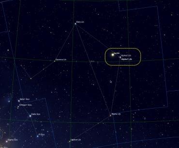 Jupiter und Alpha Librae in Sky Safari