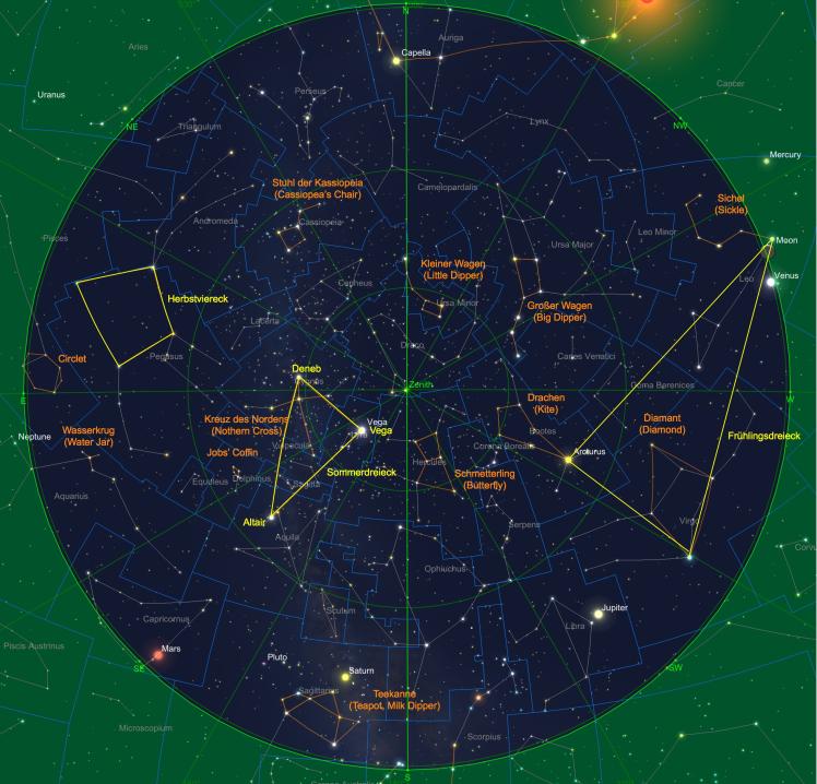 Sternhimmel am 15. Juli 2018, 23 Uhr
